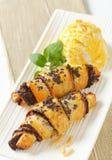 Chocolate croissants with ice cream Royalty Free Stock Photo