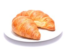 Chocolate croissants isolated on white background Stock Image
