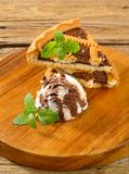 Chocolate crostata with ice cream Royalty Free Stock Photo