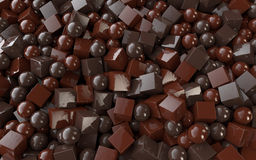 Chocolate cubes and balls. 3d render of chocolate cubes and balls Stock Photo