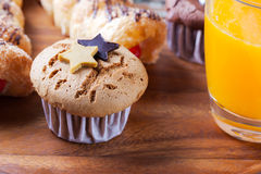 Chocolate cup cake with chocolate star Royalty Free Stock Photography