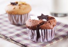 Chocolate cup cake with chocolate star Stock Photo