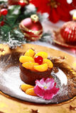 Chocolate Cup Cake for Christmas Stock Photo