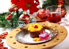 Chocolate Cup Cake for Christmas royalty free stock images