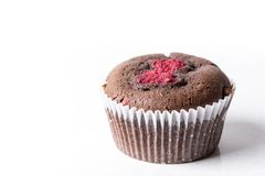 Chocolate cup cake muffin with fresh raspberry isolated on the white background with copy space.  Stock Images