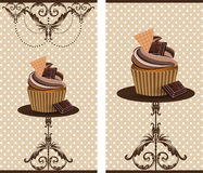 Chocolate cup cake. Vector cup cake decorated with chocolate pieces royalty free illustration