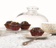 Chocolate cup cakes Royalty Free Stock Photos