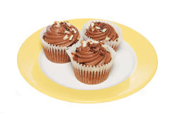 Chocolate cup cakes on plate Stock Images