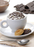 Chocolate cup and cookies on coffe table. Stock Photo