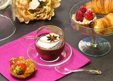 Chocolate cup with croissanta and pastry Stock Image