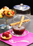 Chocolate cup with pastry Royalty Free Stock Photography