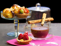 Chocolate cup with pastry Royalty Free Stock Images