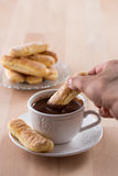 Chocolate cup with whipped cream and ladyfingers Royalty Free Stock Photos