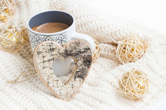 Chocolate cup with wooden heart Christmas decoration Royalty Free Stock Images