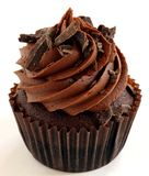 Chocolate Cupcake. A chocolate cupcake with chocolate frosting and chocolate shavings royalty free stock image