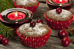 Chocolate cupcake with berry Royalty Free Stock Images