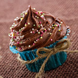 Chocolate cupcake in a blue wrapper Stock Photos