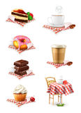 Chocolate, cupcake, cake, cup of coffee and donut,. Set with chocolate, cupcake, cake, cup of coffee and donut,  on white background Royalty Free Stock Photo