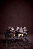 Chocolate cupcake cakes with meringue icing Royalty Free Stock Photo