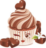 Chocolate cupcake (character) Stock Photo