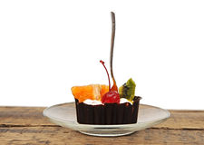 Chocolate cupcake with a cherry Stock Image
