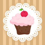 Chocolate cupcake with cherry on cute napkin Stock Photography