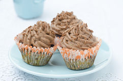 Chocolate cupcake with chocolate cream horizontal Royalty Free Stock Photography