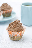 Chocolate cupcake with chocolate cream Stock Photos