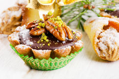 Chocolate Cupcake with christmas decoracions Stock Photo