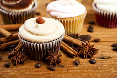 Chocolate cupcake, coffee beans, cinnamon, star anise on sacking Stock Photos
