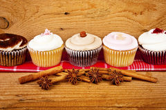 Chocolate cupcake, coffee beans, cinnamon, star anise on sacking Stock Image