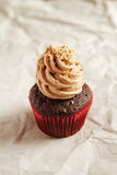 Chocolate cupcake with coffee icing and hazelnut sprinkles Royalty Free Stock Photography