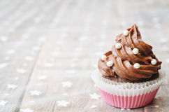 Chocolate cupcake with colorful sprinkles Royalty Free Stock Photography