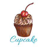 Chocolate cupcake with cream and cherry sketch Royalty Free Stock Photos