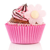 Chocolate cupcake with flower Royalty Free Stock Images