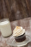Chocolate Cupcake With Glass of Milk Royalty Free Stock Photo