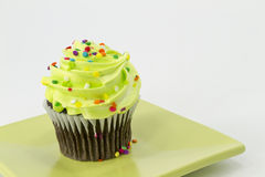 Chocolate Cupcake with Green Frosting Stock Image