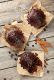Chocolate cupcake on the grey wooden background Royalty Free Stock Photos