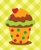 Chocolate cupcake with heart Stock Images