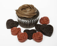 Chocolate Cupcake with Hearts and Flowers Stock Photos