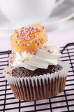 Chocolate cupcake with honey melon Stock Photo