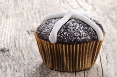 Chocolate cupcake with icing sugar Stock Images