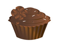 Chocolate cupcake isolated. On a white background Stock Images
