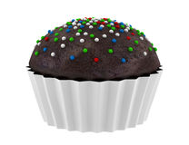 Chocolate cupcake isolated on white Royalty Free Stock Photography