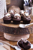 Chocolate cupcake with marshmallow. For celebration party Royalty Free Stock Photo