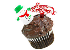 Chocolate Cupcake with a Merry Christmas Snowman on top. Royalty Free Stock Image