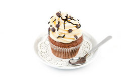 Chocolate cupcake with mousse cream Royalty Free Stock Image