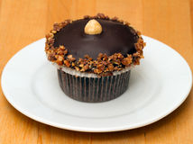 Chocolate cupcake with nuts Royalty Free Stock Image