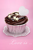 Chocolate cupcake on a pink Royalty Free Stock Photo