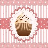 Chocolate cupcake on the pink  background Royalty Free Stock Image